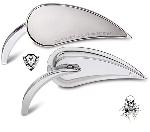 Arlen Ness Teardrop Die-Cast Rad III Mirror - Chrome, R/H