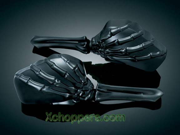 Kuryakyn Skeleton Hand Mirrors - Black Arms & Mirrors (pair)