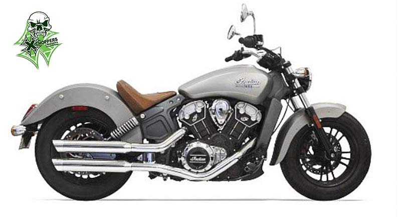"Bassani 3"" Chrome Mufflers W/ Chrome Slash Cut Tips '14+ Scout"