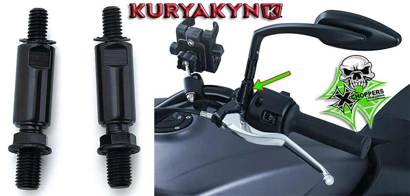 <B>Kuryakyn Raised Mirror Adapters (Black) - Pair </B>