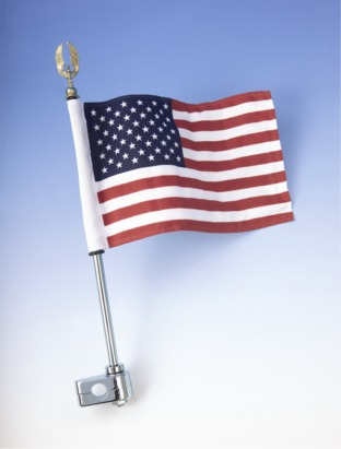Big Bike Parts Flag Pole with Eagle and American Flag