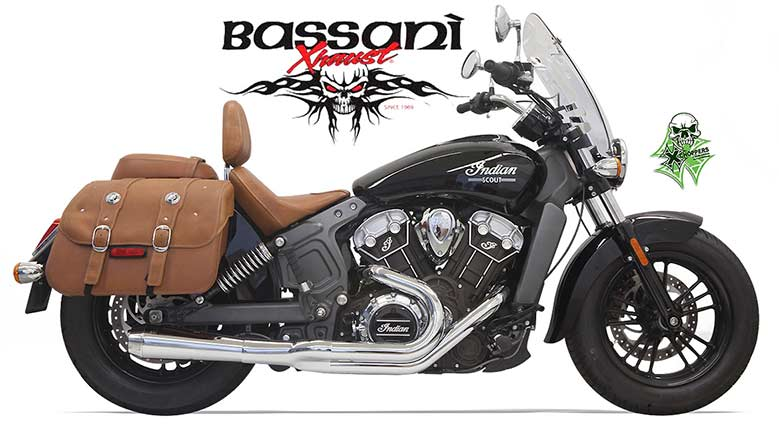 Bassani 2 into 1 Short Chrome Exhausts for Indian Scout
