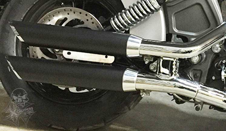 Aeromach Black Slash Cut Exhaust with Chrome Tips - 2015 Scout