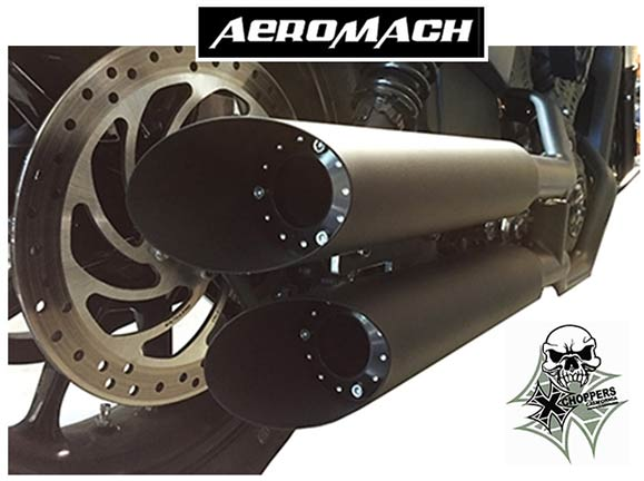 Aeromach Indian Scout, Scout60 Slash Cut Slip On Mufflers - Dark