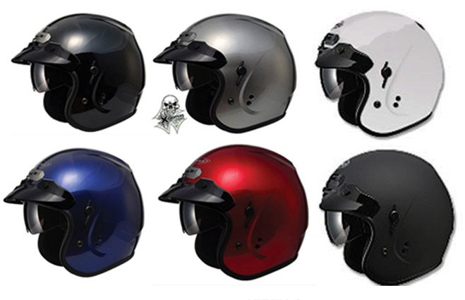 GMAX Helmets GM32 Open Face Helmet with Flip-Down Sun Shield