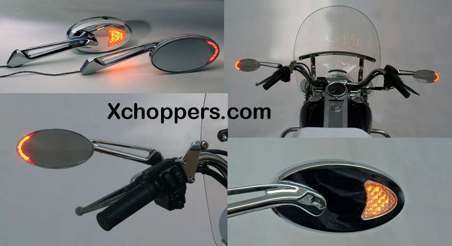<B>Rivco Custom LED Lighted Turn Signal Motorcycle Mirrors</B>