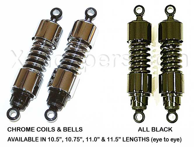 "MB Products - VTX Gas Shocks in Black & Chrome - 10.5"" & longer"